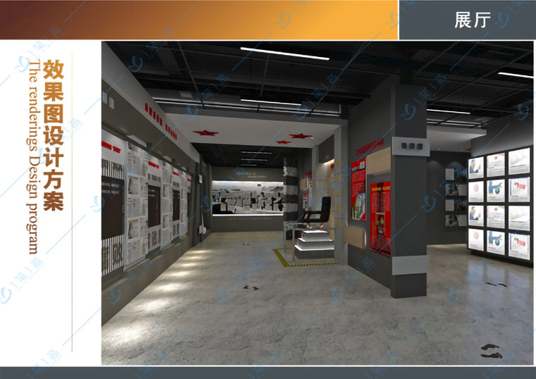 企业数字化展厅设计平面效果图网格线的作用